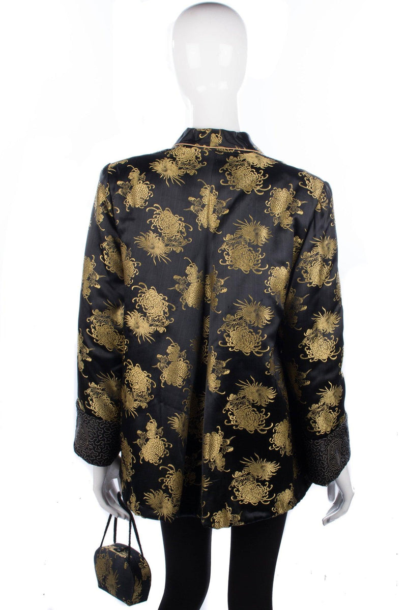 Arjan Hong Kong Padded Chinese Jacket and Bag Silk Black and Gold Size L