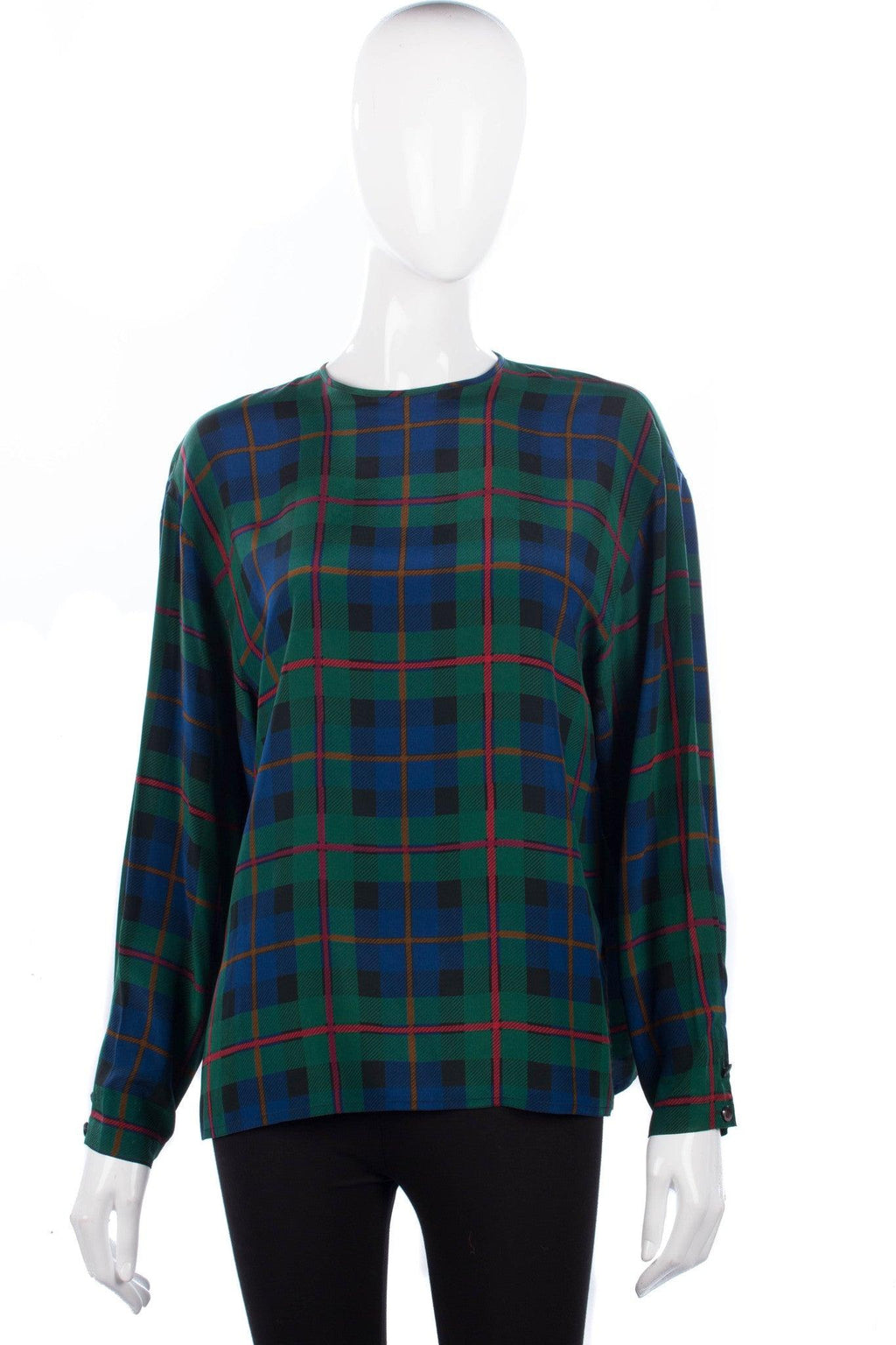 Max Mara Pure Silk Tartan Long Sleeve Top UK Size 12