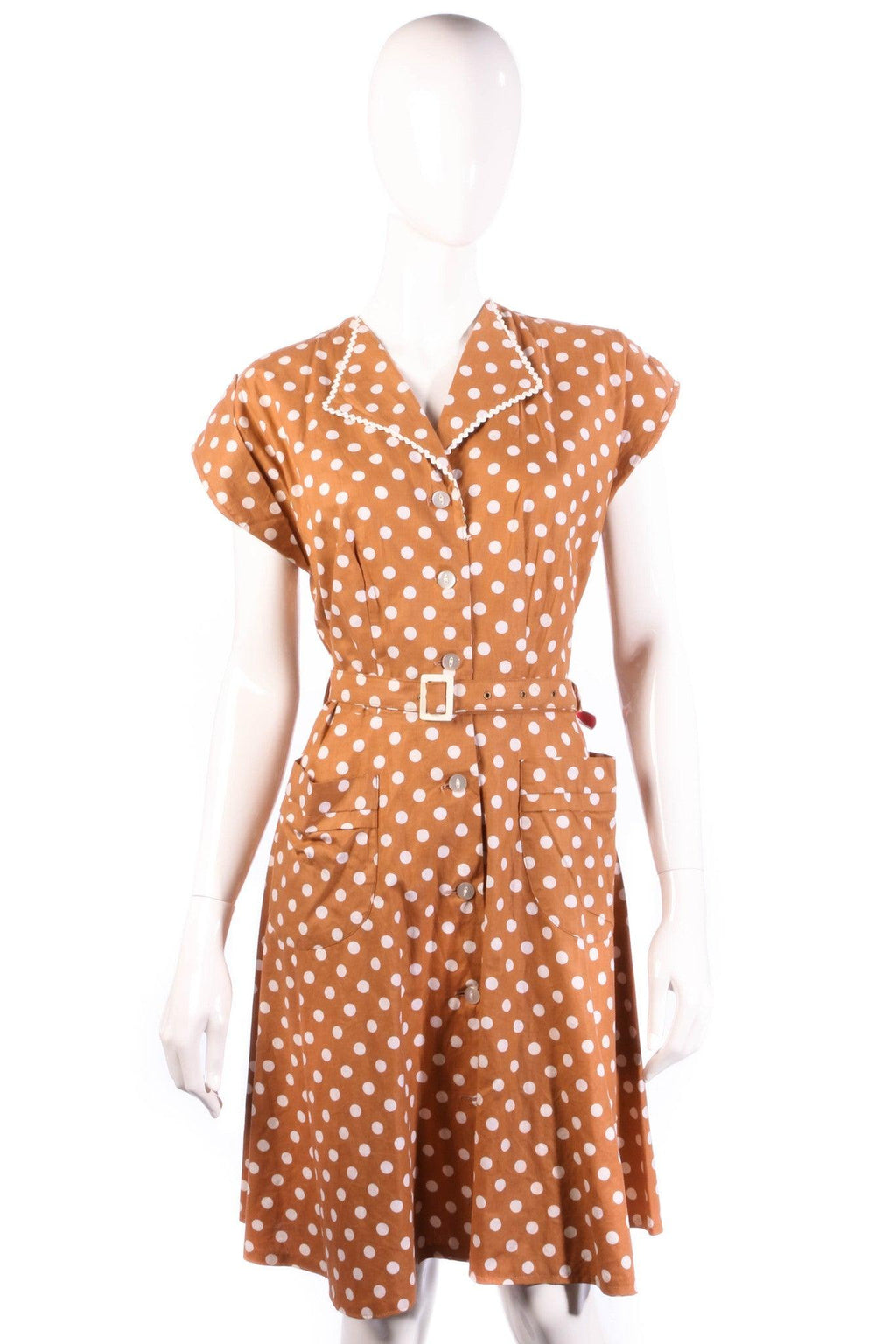 Brown and cream polkadot summer dress