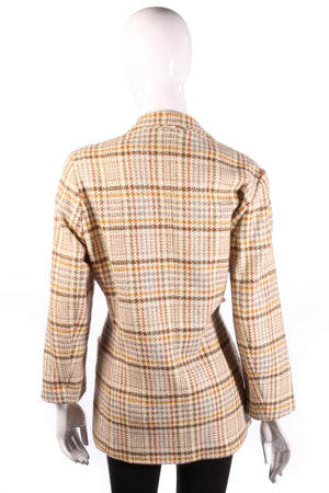 Daniel D Jacket Cream Check Wool. Size 42 (UK14)