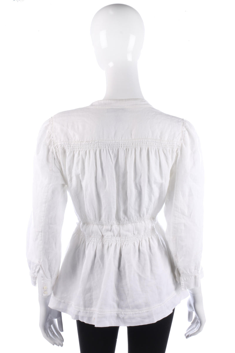 DKNY Jacket White Linen with Tie Waist Size 8 (M)