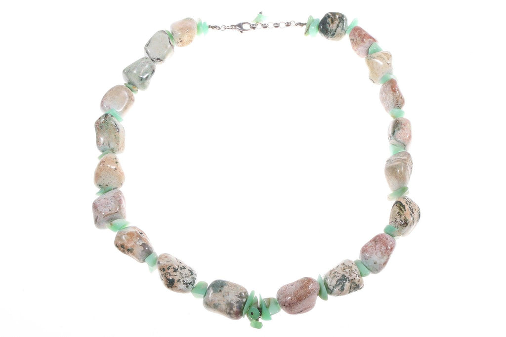 Beaded necklace pinks and greens
