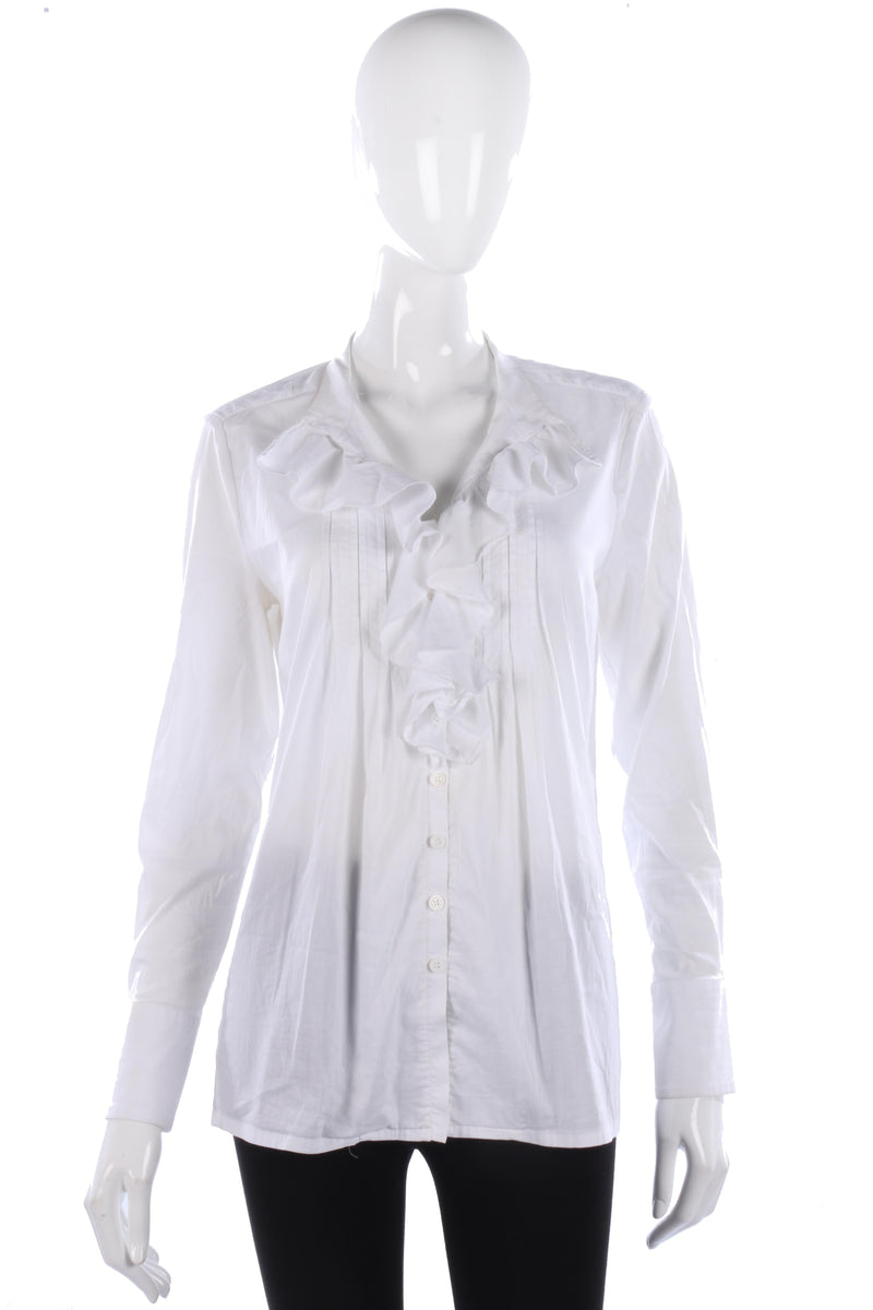 Schneiders white cotton blouse with ruffle details size M