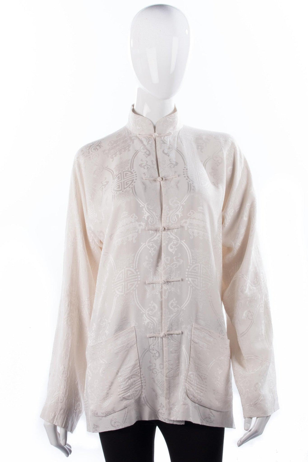 Shanghai Tang Long Chinese Style Jacket 100% Silk White UK Size 8