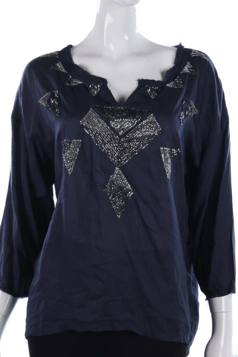 Saint Tropez spring summer top, blue with silver sequin details, size S/M