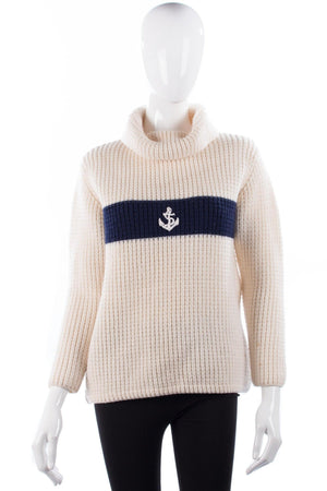Jaeger cream and navy nautical wool jumper size M
