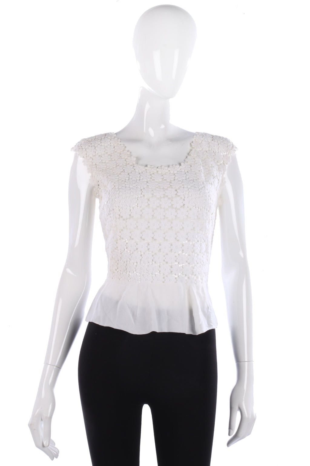 Fabulous 1950's vintage flower lace and crepe top size S