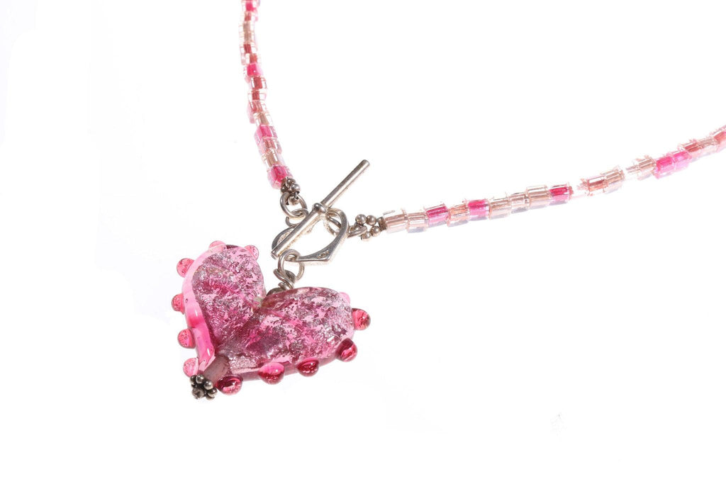 Pink glass necklace with heart pendant silver 925 marked clasp