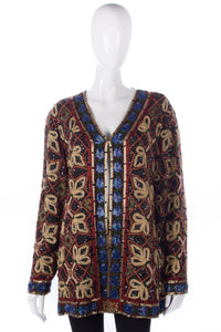 Gold, red and blue heavily beaded jacket. So beautiful and great for Xmas parties
