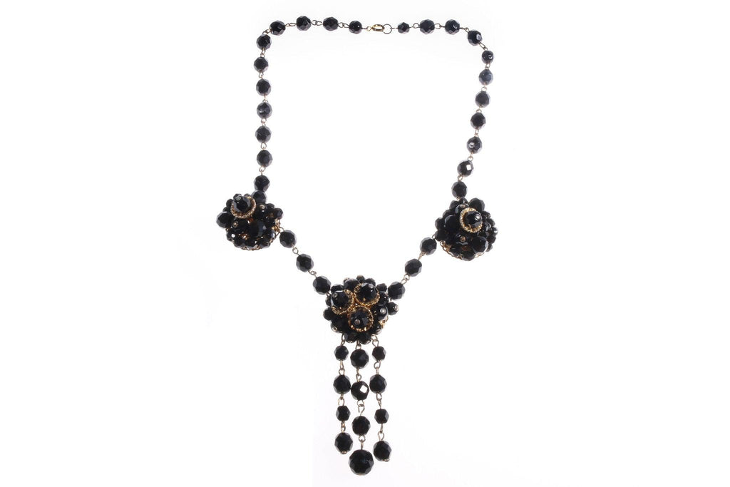 Black beaded necklace with pendant
