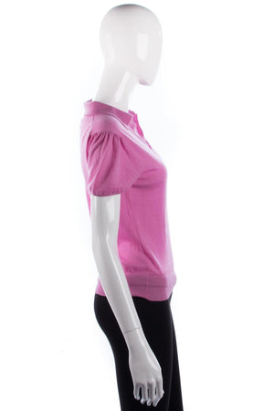 Edina Ronay 100% Merino Wool Short Sleeve Pink Top Size M