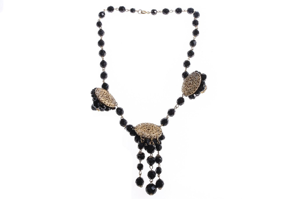 Black beaded necklace with pendant back