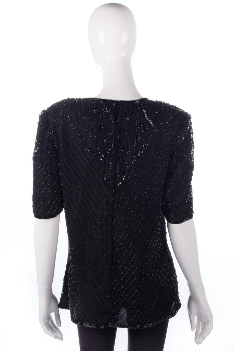 After Six by Roland Joyce Sequinned Top Black Size M/L