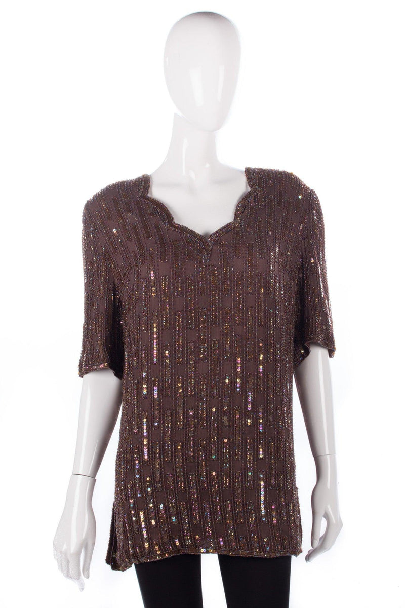 Frank Usher sequinned top brown size XL