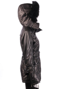 Giorgio & Mario leather look coat with hood side2