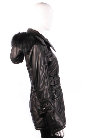 Giorgio & Mario leather look coat with hood side