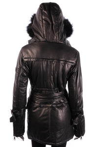 Giorgio & Mario leather look coat with hood back
