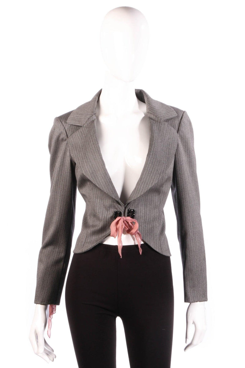 Ronic Zilkah grey jacket with pink ribbon ties