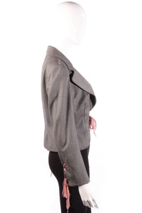 Ronic Zilkah grey jacket with pink ribbon ties side