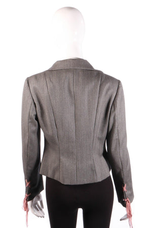 Ronit Zilkha Jacket with Ribbon Ties Grey Wool Size 12