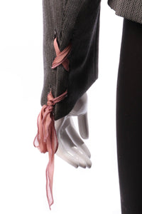 Ronic Zilkah grey jacket with pink ribbon ties detail