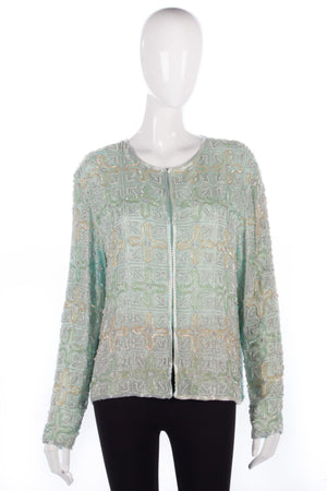 Heavily beaded green jacket size 14/16
