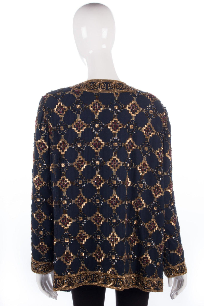 Navy and gold beaded jacket