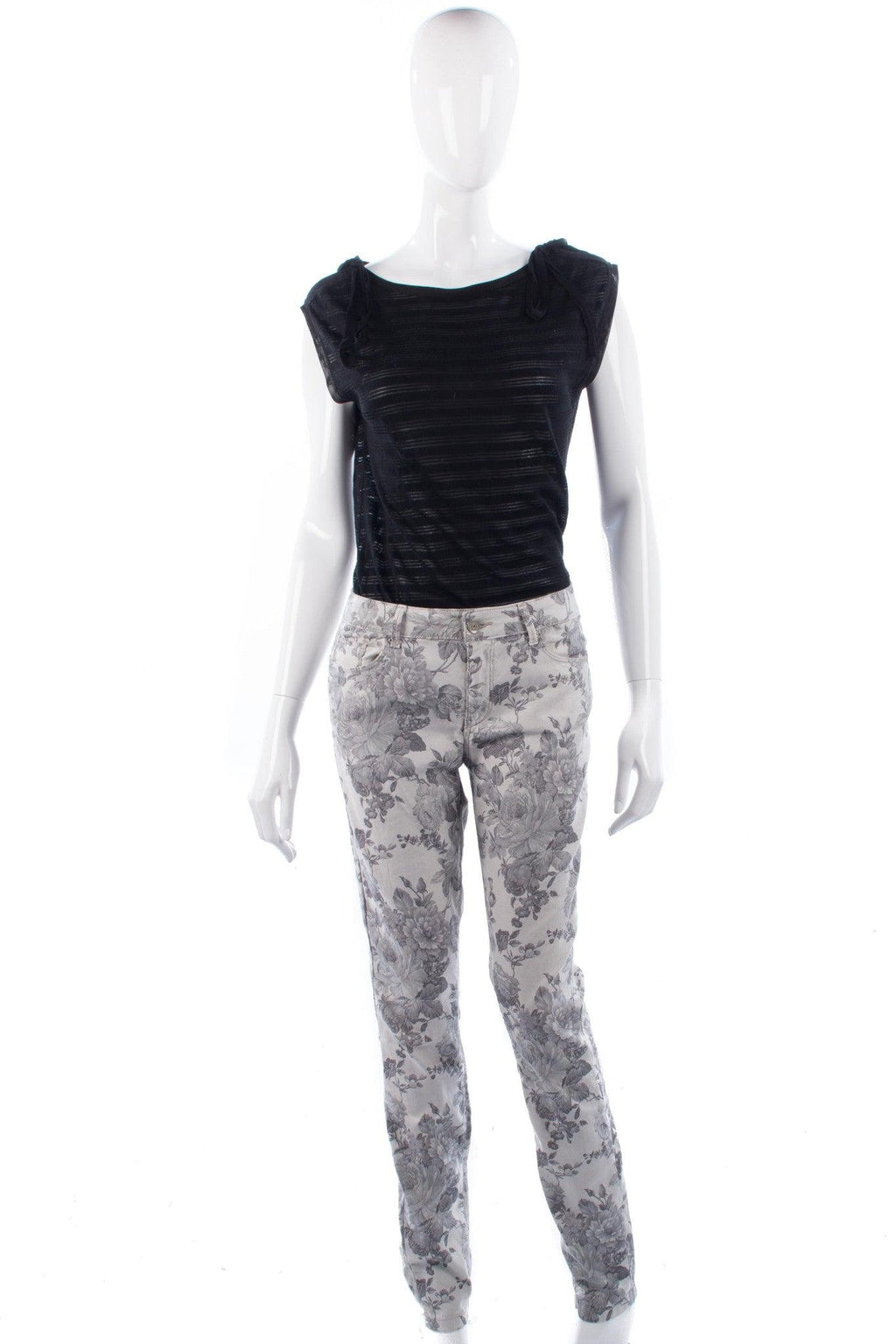 Esprit Jeans Grey with Floral Pattern Size 14