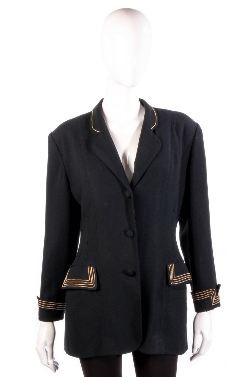 Black jacket with gold stripe detail