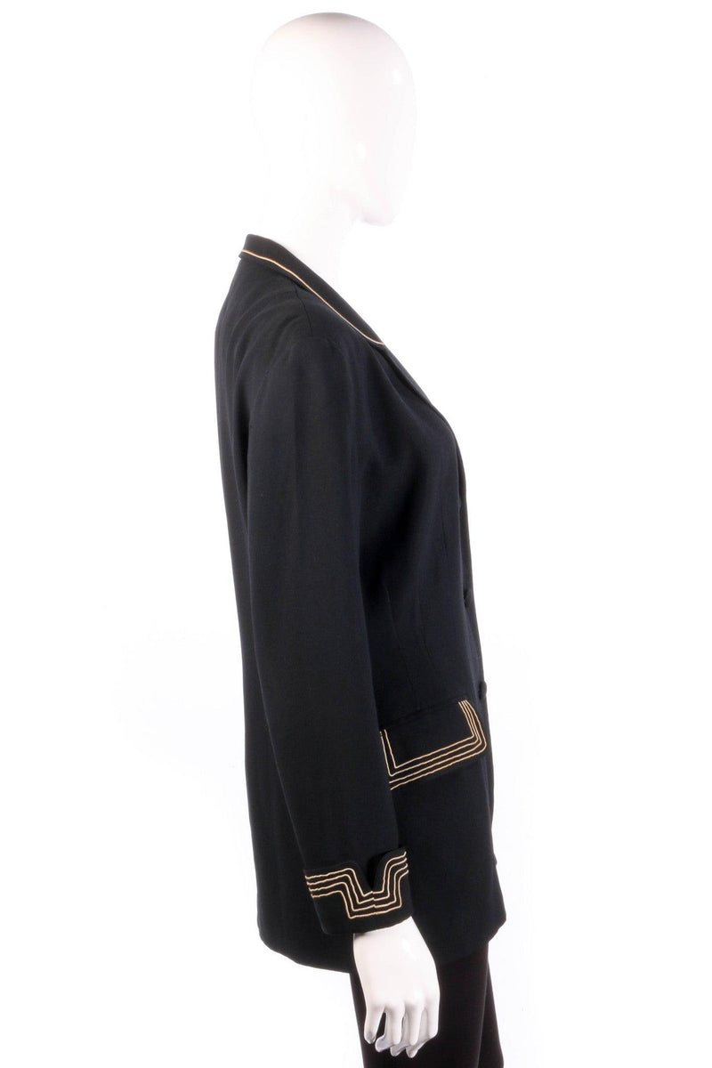 Black jacket with gold stripe detail side