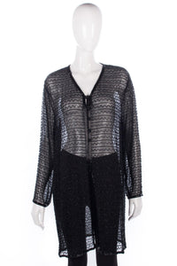 Long black beaded cardigan