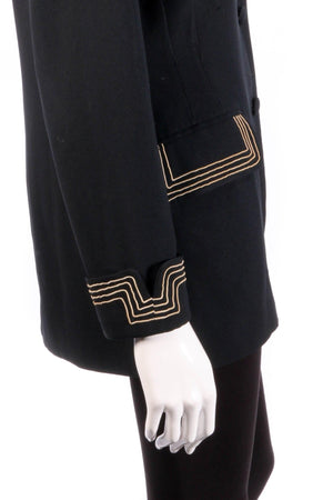 Black jacket with gold stripe detail  detail