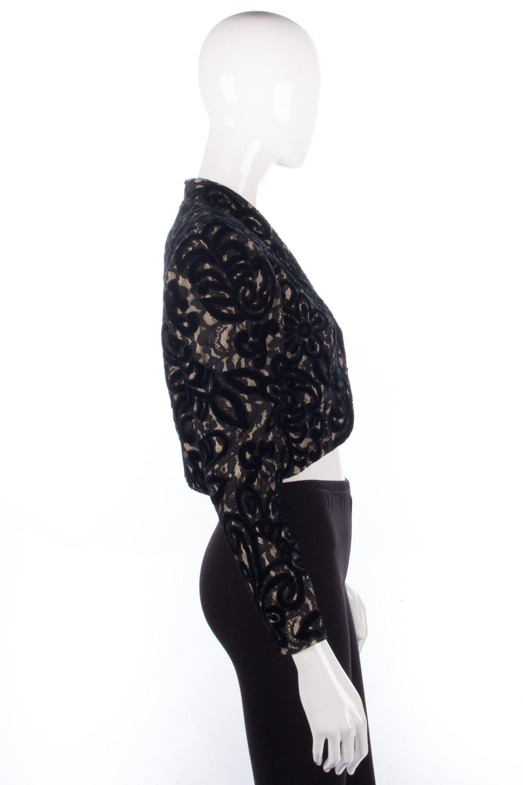 After Six Cropped Bolero Jacket with Velvet and Lace Black Size 10/12