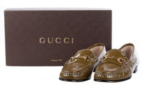 Gucci Leather Loafers. Patent Khaki Green Size 36 1/2. With Original Box