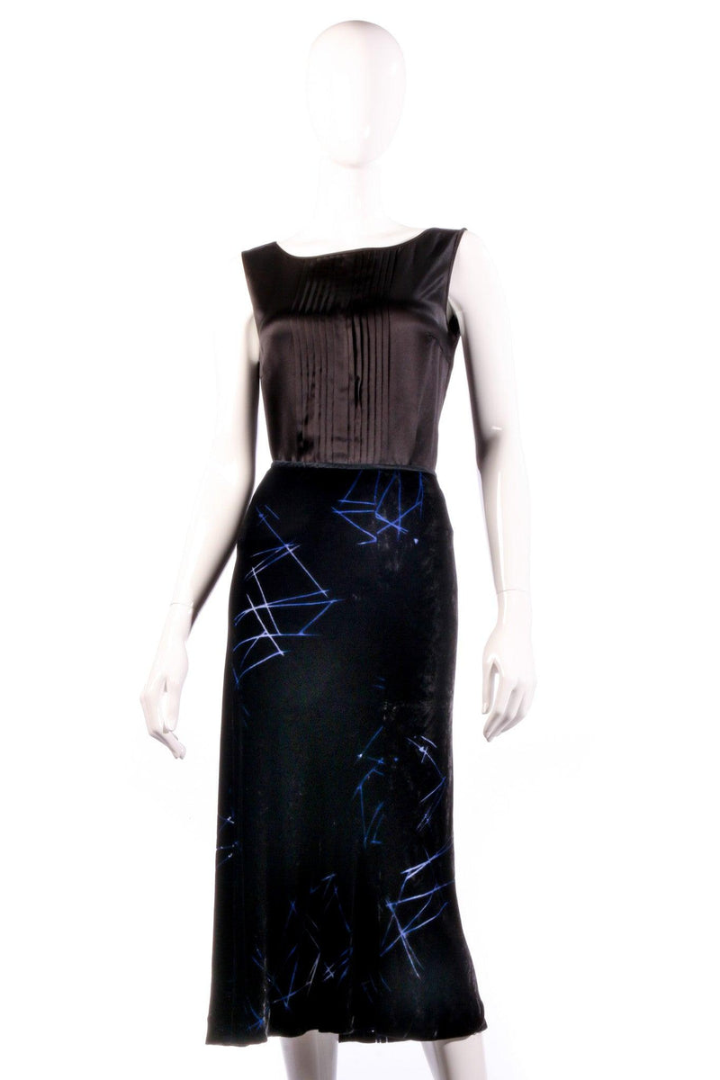 Armani Exchange Knee Length Skirt Black with Blue Pattern Size 6