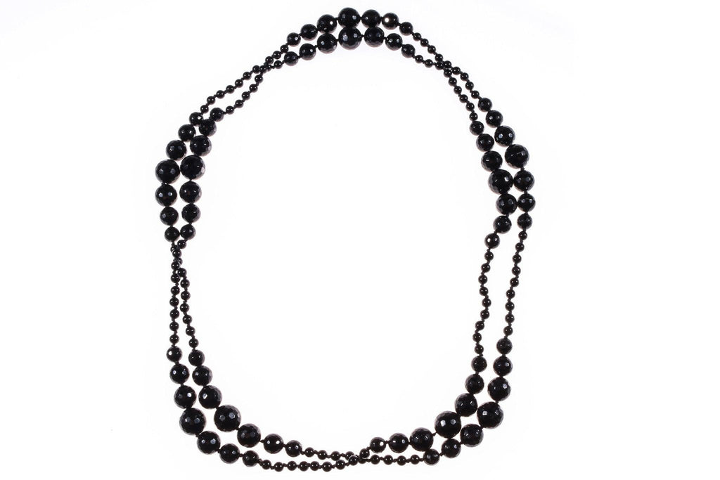 Long French jet black beaded necklace