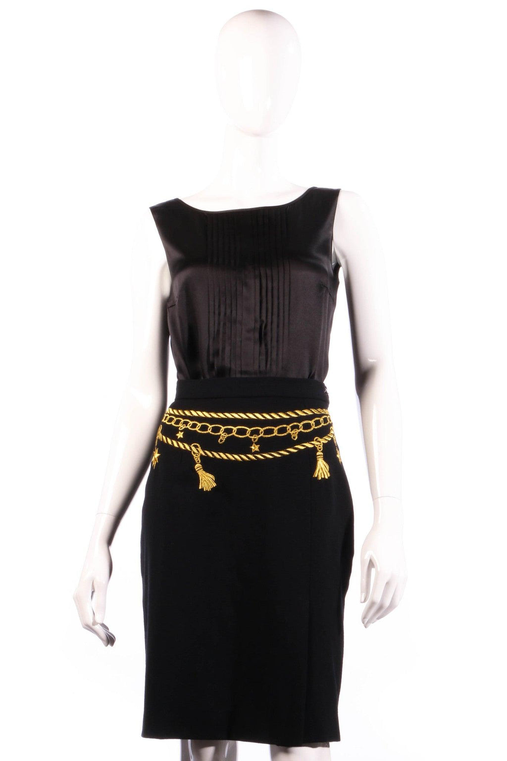 Black skirt with gold chain embroidery