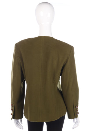 Vintage Finest Quality Wool and Cashmere Jacket Khaki Size 12/14