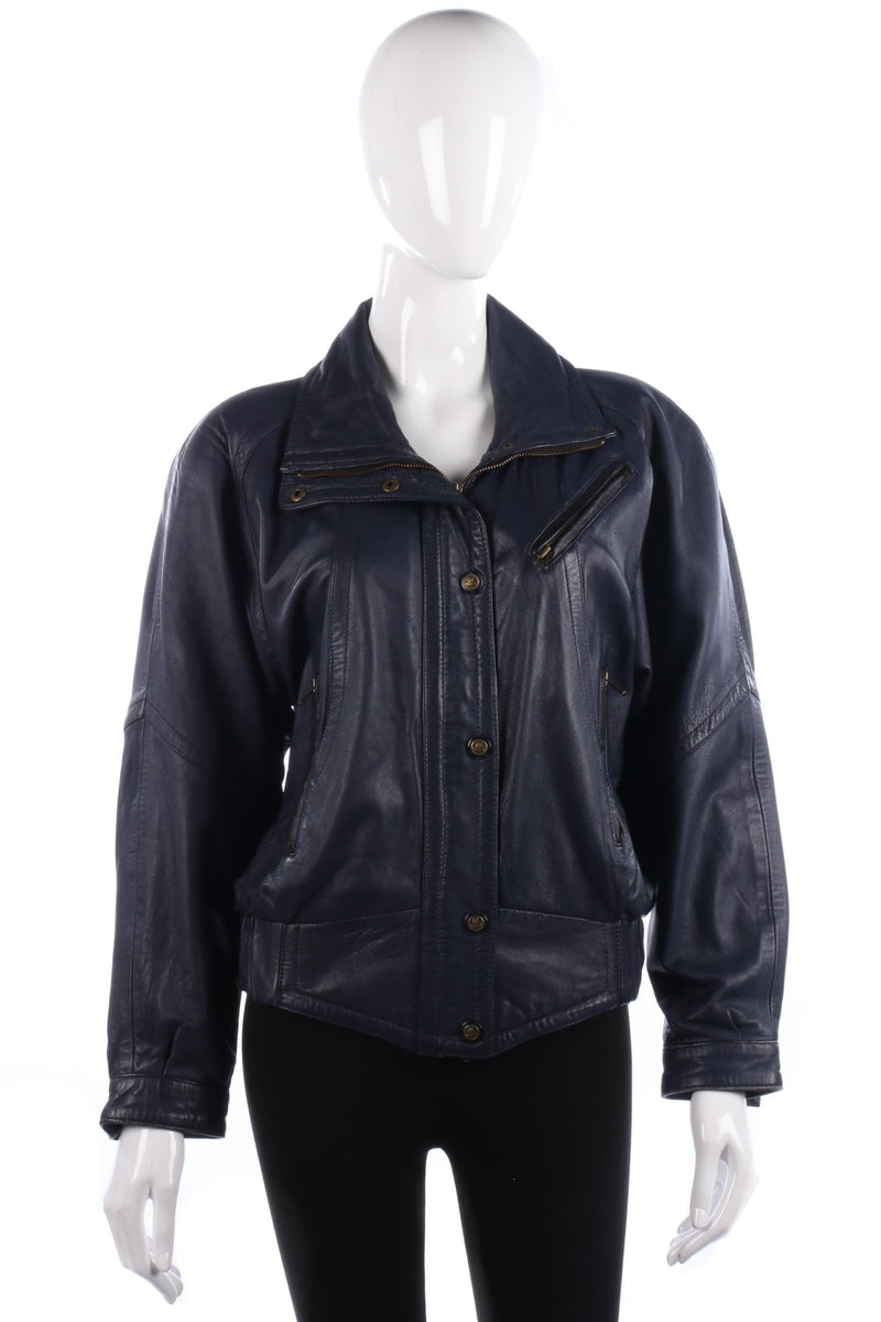 Vintage 1980's D&L soft dark blue women's leather jacket size 12
