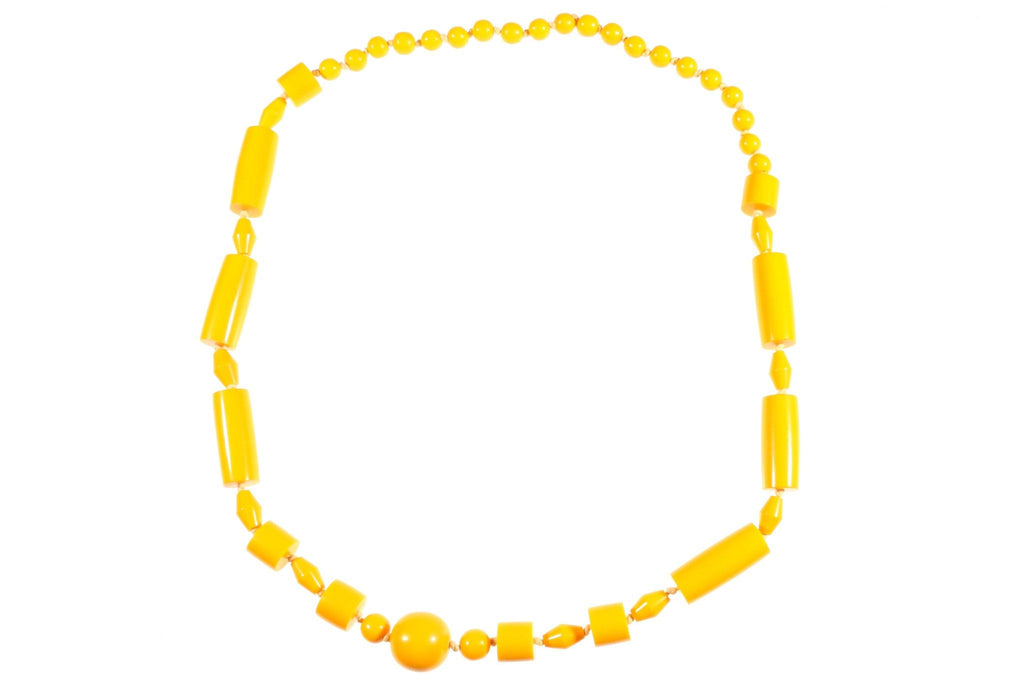 Long yellow beaded necklace