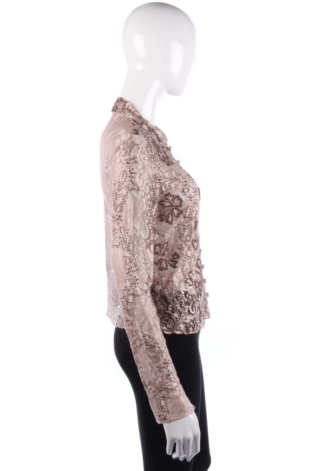 Phase Eight Shirt Lace with Sequin and Bead Detail Copper Tones Size 12