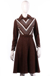 Brown collared dress with long sleeves