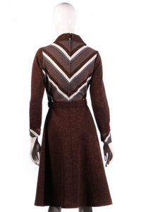 Brown collared dress with long sleeves back