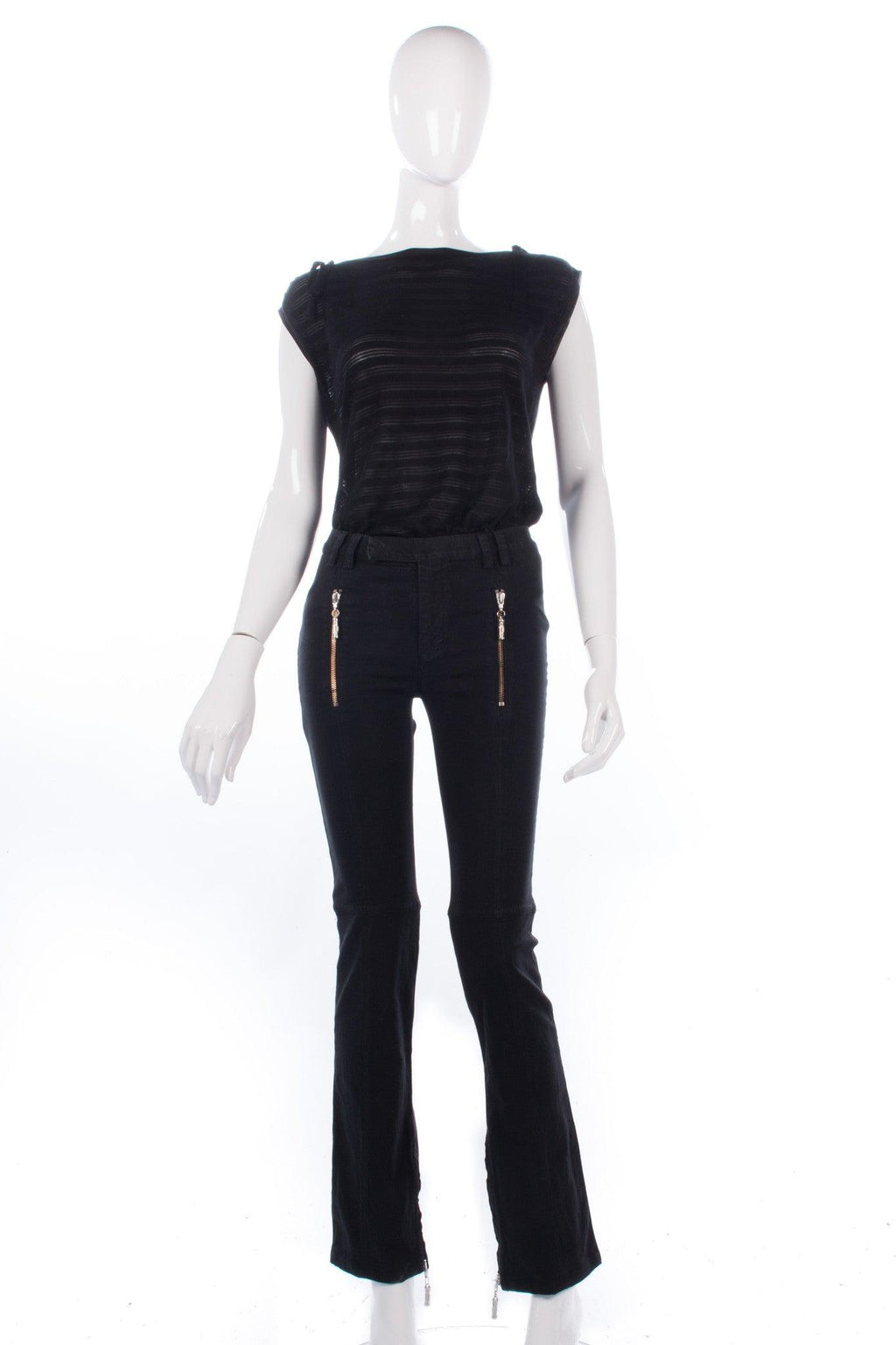 Versace Jeans Signature jeans Black with Bronze and Silver zips. 24 inch waist