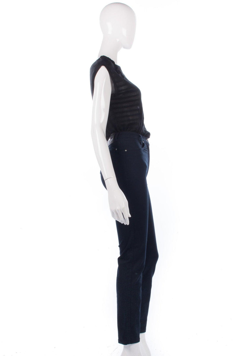 Stratos Collection High Waisted Jeans Dark Blue Stretch Waist Size 6/8