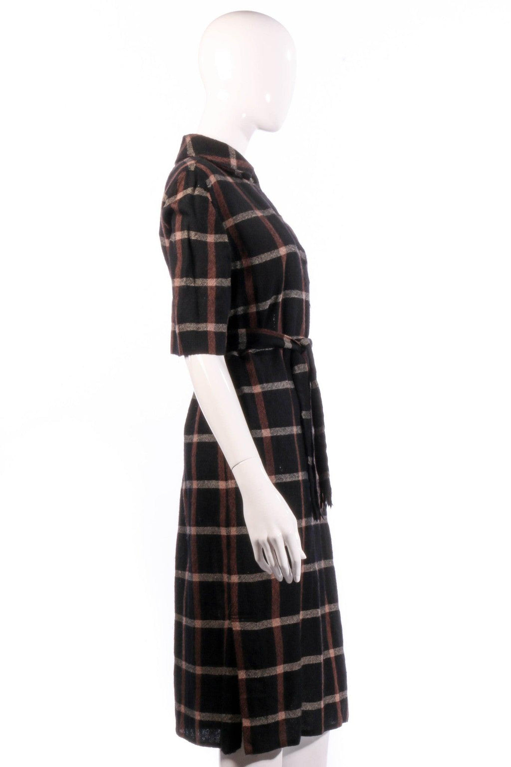 Donald Davies black and red checked dress size 14 side