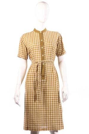 Donald Davies mustard checked dress size 14