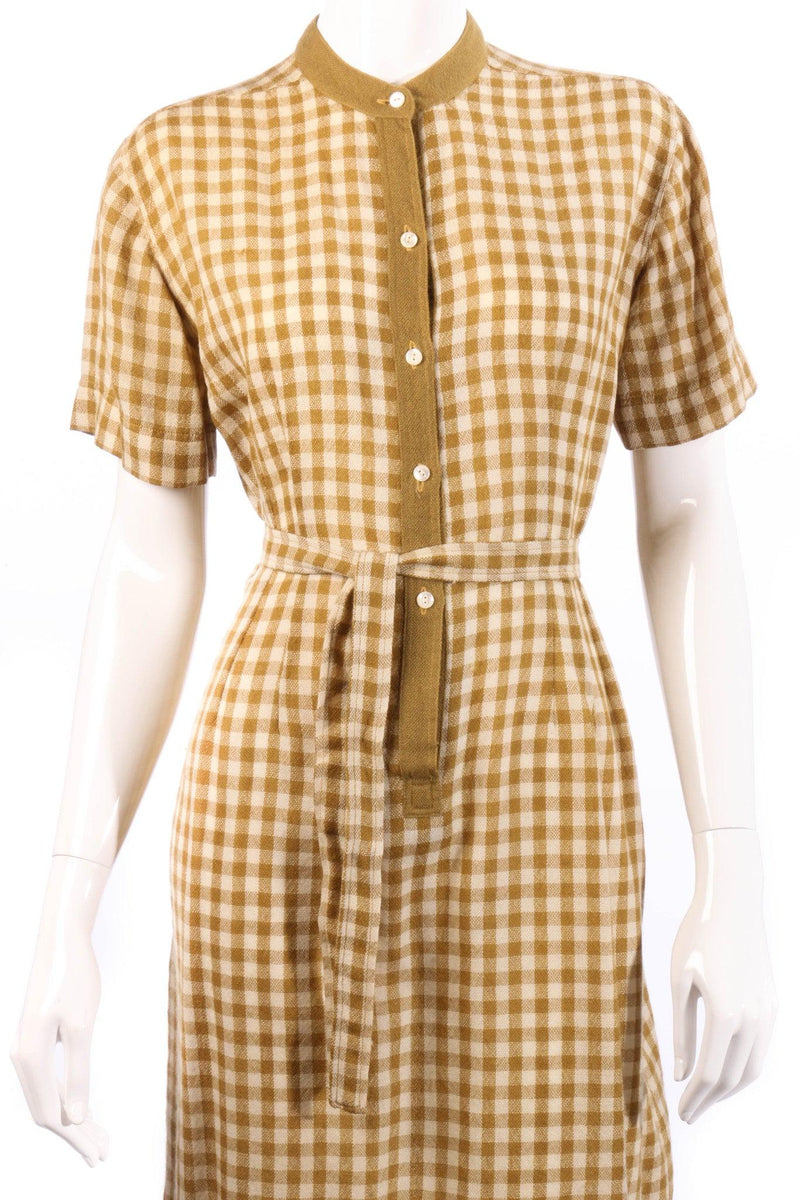 Donald Davies mustard checked dress size 14 detail