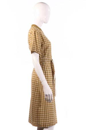 Donald Davies mustard checked dress size 14 side
