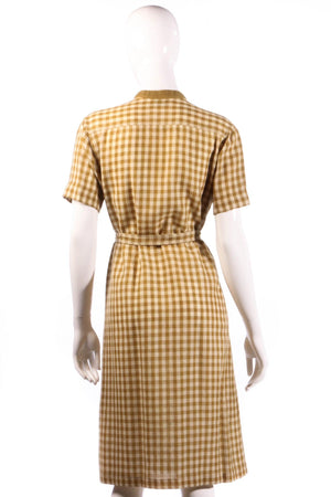 Donald Davies mustard checked dress size 14 back